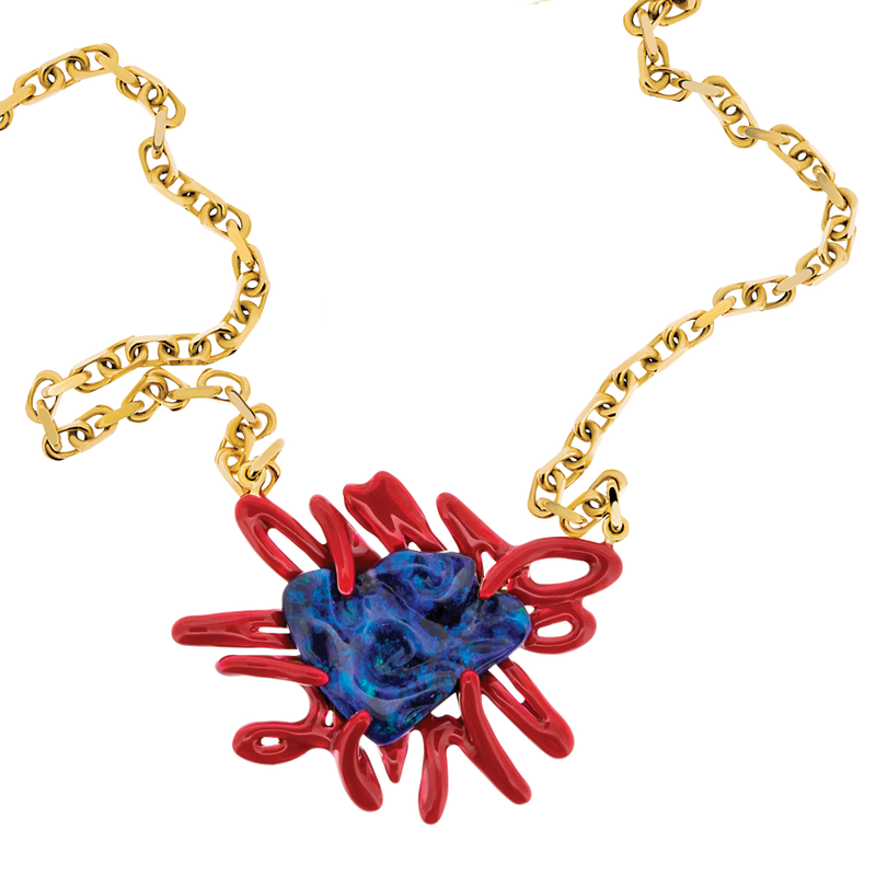 Scribbles Blue Opal & Red Necklace