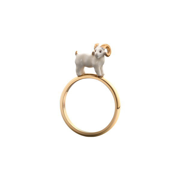 A lacquered ram ring in 18 karat yellow gold by Solange Azagury-Partridge