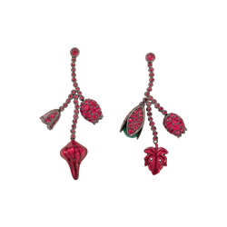 A pair of earrings composed of cluster bud shaped rubies, emeralds and red lacquer set in blackened 18 karat white gold by Solange Azagury-Partridge