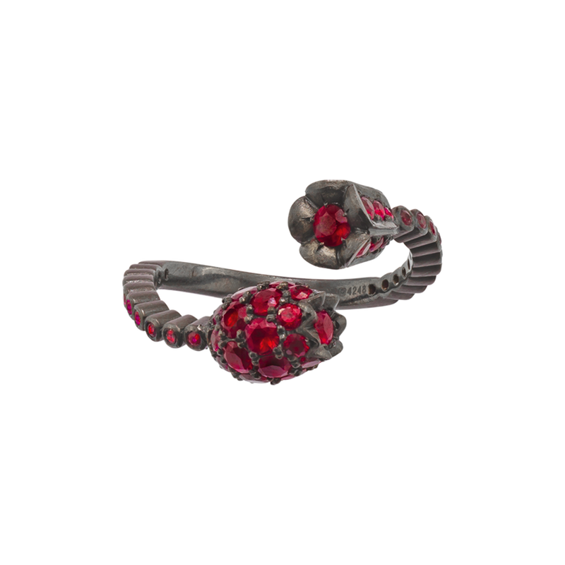 A floral ruby ring set in blackened 18 karat white gold by Solange Azagury-Partridge