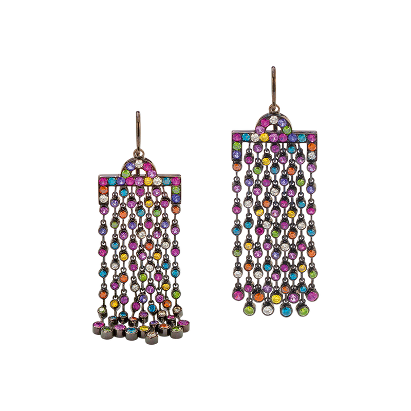 A pair of chromantic multi-coloured and diamond earrings with linked fringe set in blackened 18 karat white gold by Solange Azagury-Partridge