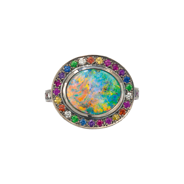 A chromatic ring with black opal and multicolour gemstones set in blackened 18 karat white gold by Solange Azagury-Partridge