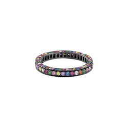 An eternity ring set on three sides with brilliant cut coloured random diamonds, sapphires & precious stones in blackened 18 karat white gold by Solange Azagury-Partridge