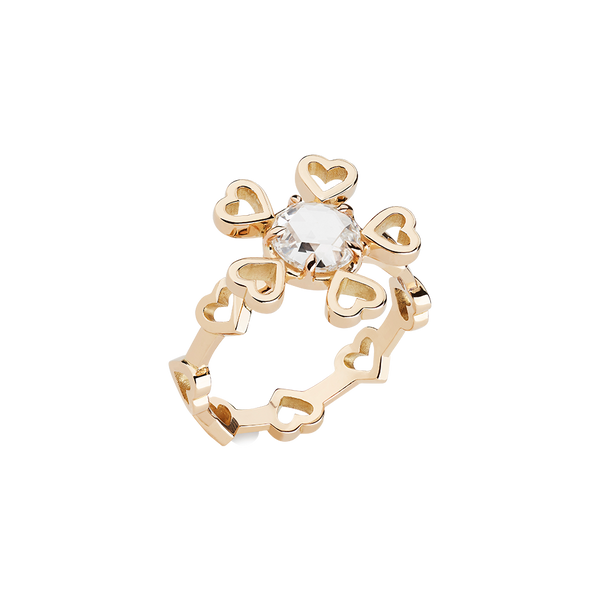 A heart motif ring with a rose cut diamond set in 18 karat yellow gold by Solange Azagury-Partridge