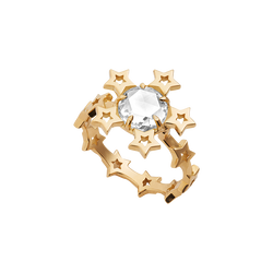 A star motif ring with a rose cut diamond set in 18 karat yellow gold by Solange Azagury-Partridge