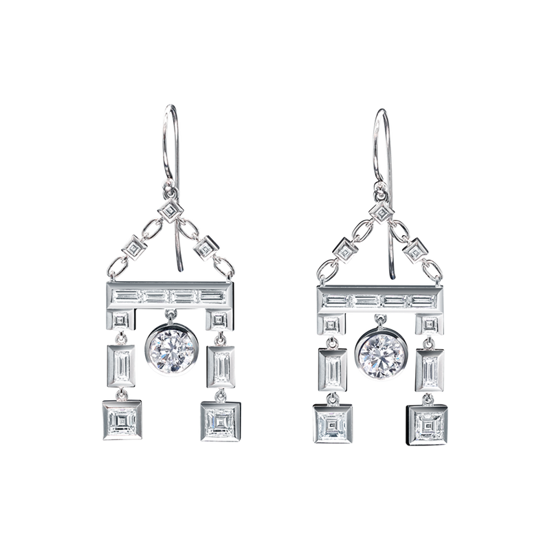 A pair of round brilliant, carré and baguette cut diamond drop earrings in 18 karat white gold by Solange Azagury-Partridge