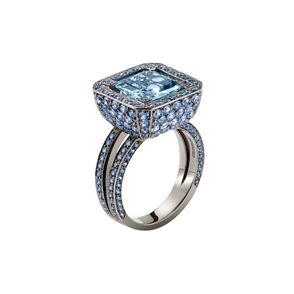 Cup Aquamarine Ring