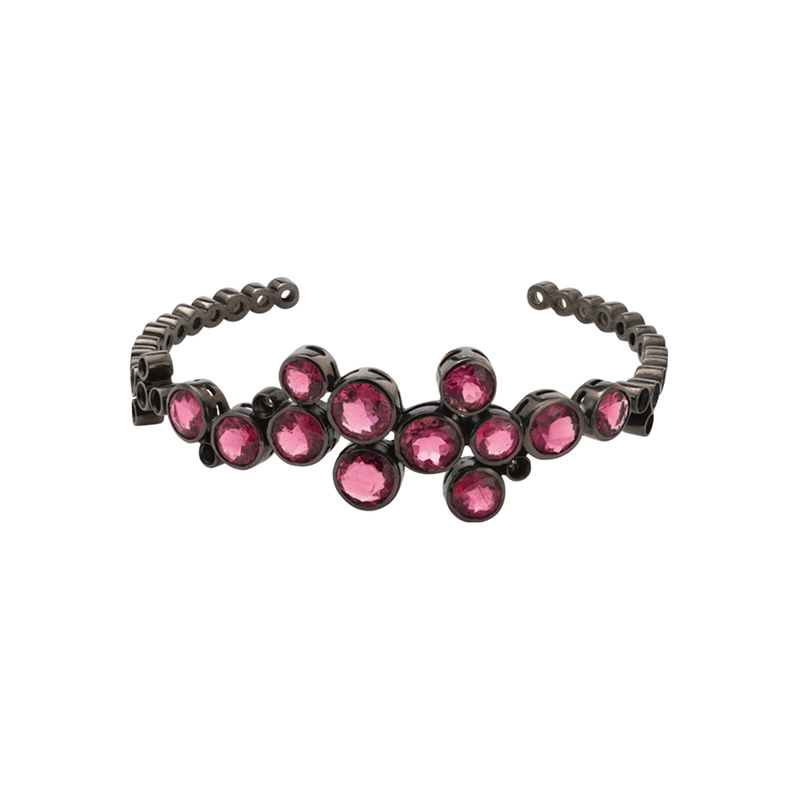 An open pink tourmaline and blackened 18 karat white gold bangle by Solange Azagury-Partridge