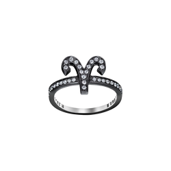 An aries zodiac sign motif ring set with brilliant cut diamonds in blackened 18 karat white gold by Solange Azagury-Partridge