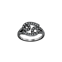 A cancer zodiac sign motif ring set with brilliant cut diamonds in blackened 18 karat white gold by Solange Azagury-Partridge