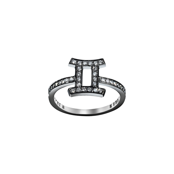 A gemini zodiac sign motif ring set with brilliant cut diamonds in blackened 18 karat white gold by Solange Azagury-Partridge