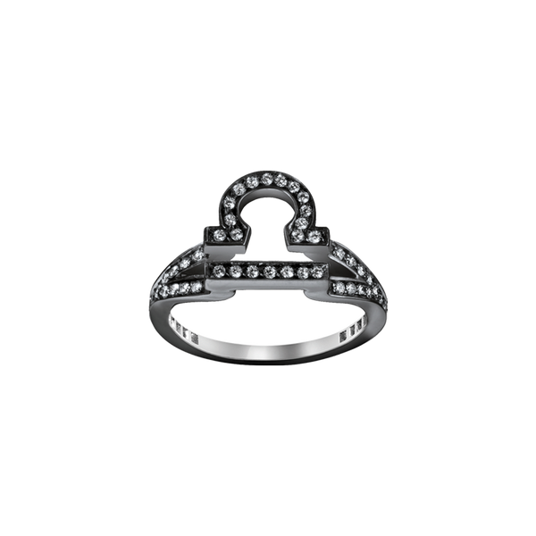 A libra zodiac sign motif ring set with brilliant cut diamonds in blackened 18 karat white gold by Solange Azagury-Partridge