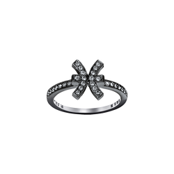 A pisces zodiac sign motif ring set with brilliant cut diamonds in blackened 18 karat white gold by Solange Azagury-Partridge