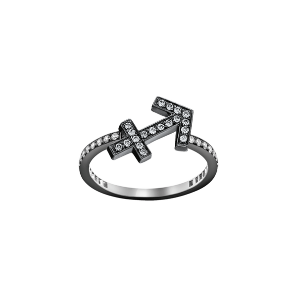A sagittarius zodiac sign motif ring set with brilliant cut diamonds in blackened 18 karat white gold by Solange Azagury-Partridge