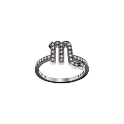 A scorpio zodiac sign motif ring set with brilliant cut diamonds in blackened 18 karat white gold by Solange Azagury-Partridge