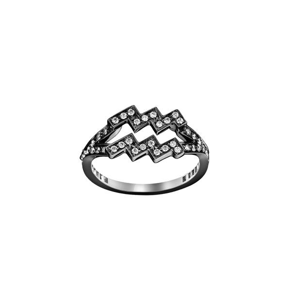 An aquarius zodiac sign motif ring set with brilliant cut diamonds in blackened 18 karat white gold by Solange Azagury-Partridge