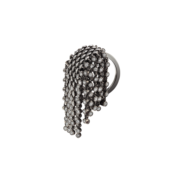 A flat topped diamond set ring with linked diamond fringe in blackened 18 karat white gold by Solange Azagury-Partridge