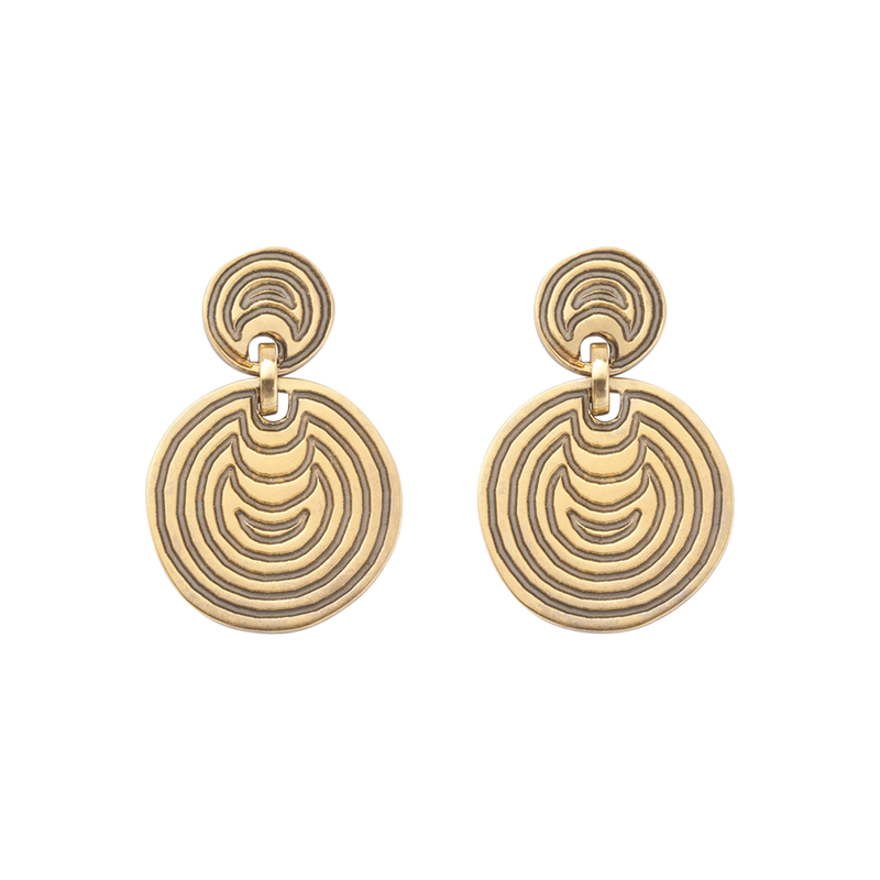 A pair of engraved earrings within 18 karat yellow by Solange Azagury-Partridge