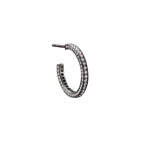 A eternity earring set on three sides with brilliant cut diamonds in blackened 18 karat white gold by Solange Azagury-Partridge