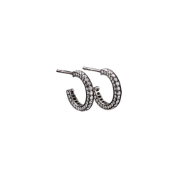 A pair of eternity small earrings set on three sides with brilliant cut diamonds in blackened 18 karat white gold by Solange Azagury-Partridge