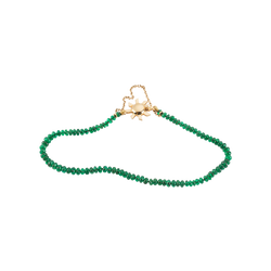 A friendship emerald beaded bracelet with 18 karat yellow gold sun shaped clasp by Solange Azagury-Partridge
