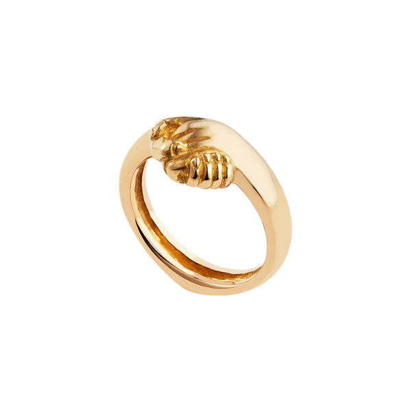 A friendship ring composed of two holding hands in 18 karat yellow gold by Solange Azagury-Partridge