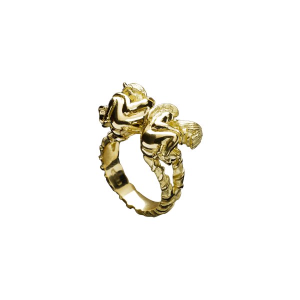 A zodiac gemini motif ring in 18 karat yellow gold by Solange Azagury-Partridge