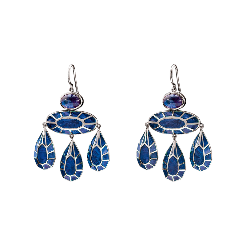 A pair of georgian earrings with oval cabochon sapphires and blue plique-a-jour enamel earrings in 18 karat white gold by Solange Azagury-Partridge