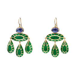 A pair of georgian earrings with sapphires and green plique-à-jour earrings in 18 karat yellow gold by Solange Azagury-Partridge