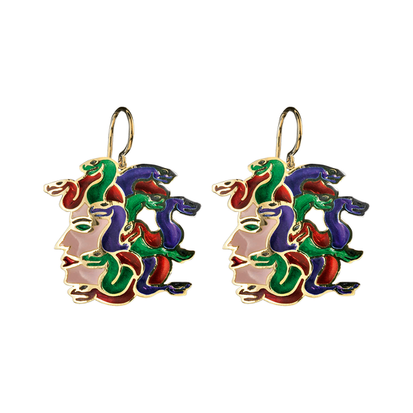 Gorgon Stoned Plique a Jour Earrings