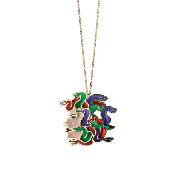 A gorgon multicoloured plique-à-jour enamelled pendant on a chain in 18 karat yellow gold by Solange Azagury-Partridge