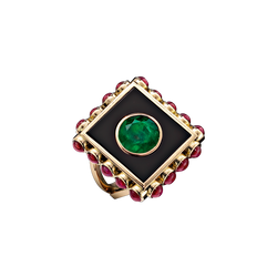 A plaque ring composed of a centre round emerald set into black enamel with a ruby surrounded in 18 karat yellow gold by Solange Azagury-Partridge