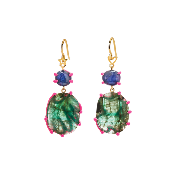Scribbles Green Blue & Pink Earrings