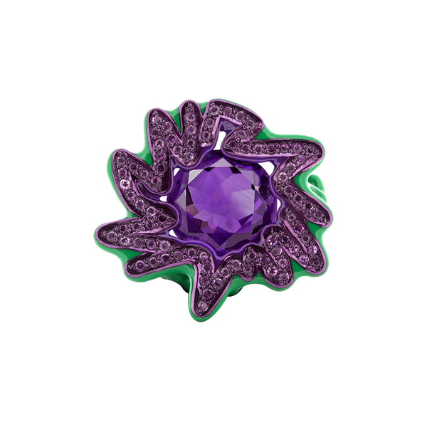 Scribbles Purple & Green Ring