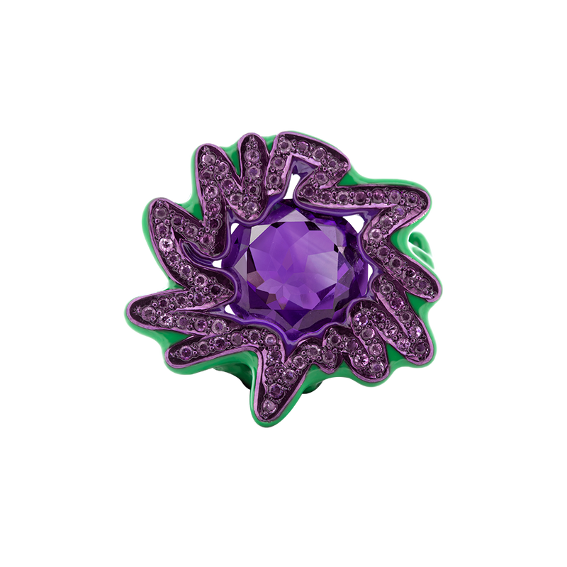 A green and purple scribbles ring composed of a centre round amethyst with amethyst pavé and purple lacquer surrounded in green ceramic plate and 18 karat yellow gold by Solange Azagury-Partridge