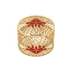 An open work bangle with a red flaming heart enamel in 18 karat yellow gold by Solange Azagury-Partridge