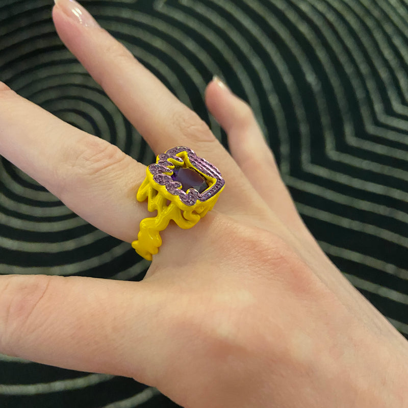 Scribbles Yellow & Purple Ring