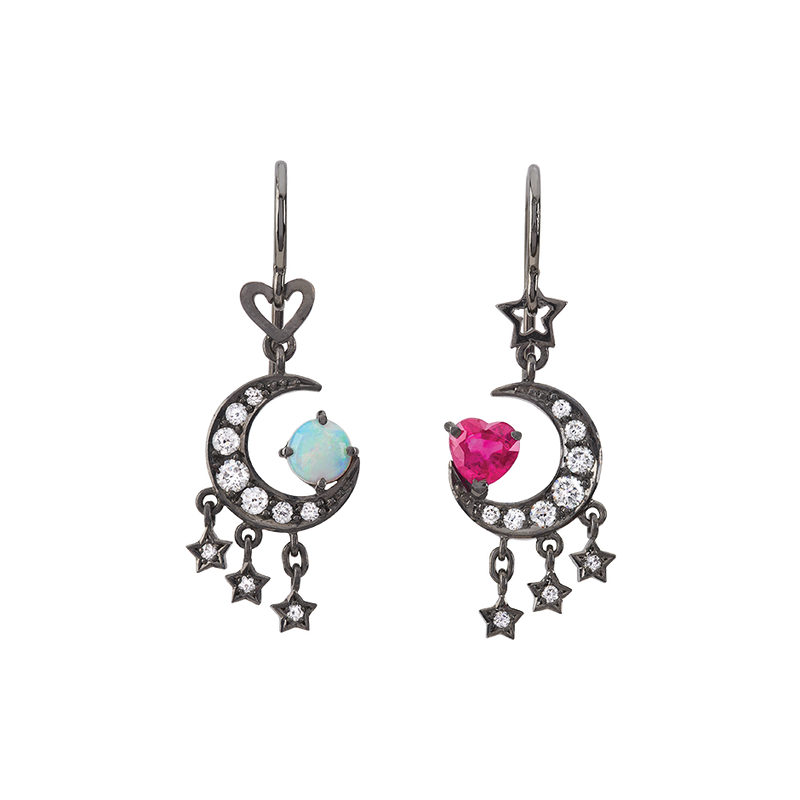 A pair of moon and star motif earrings set with diamonds, a ruby heart and an opal world with fish hooks in blackened 18 karat white gold by Solange Azagury-Partridge
