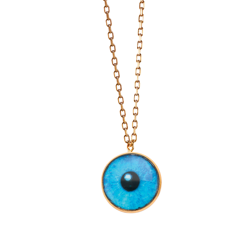 A blue lacquer iris eye necklace in 18 karat yellow gold by Solange Azagury-Partridge