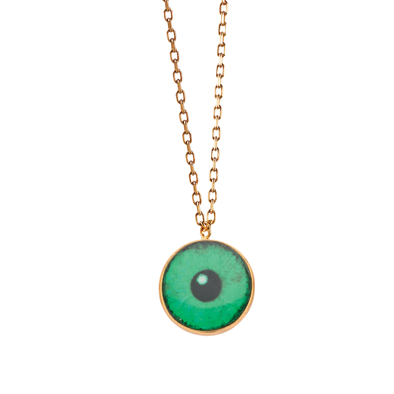 A green lacquer iris eye necklace in 18 karat yellow gold by Solange Azagury-Partridge