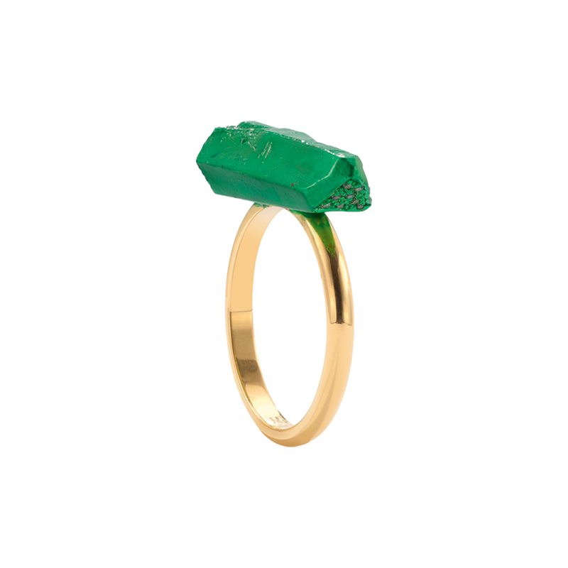 A lacquered kryptonite ring with emeralds in 18 karat yellow gold by Solange Azagury-Partridge