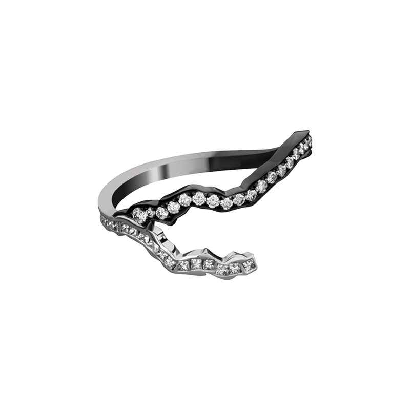 Lightning Bolts Pave Ring