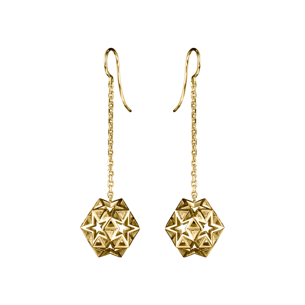 A pair of earrings with three dimensional star and triangular openwork balls suspended on chain in 18 karat yellow gold by Solange Azagury-Partridge