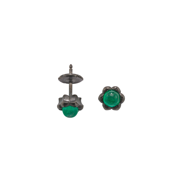 A pair of lotus motif stud earrings set with round cabochon emeralds in blackened 18 karat white gold by Solange Azagury-Partridge