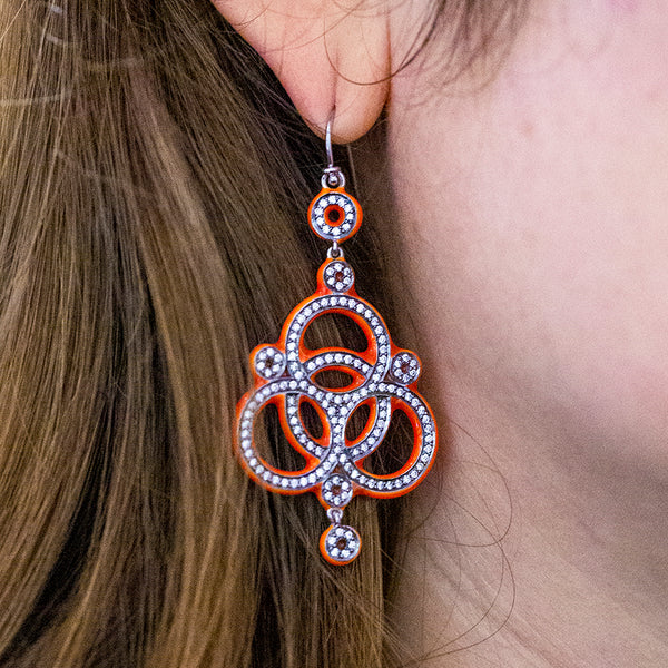 Love Knot Diamond Earrings Neon Orange