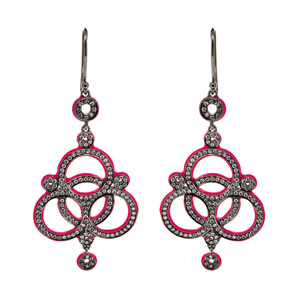 Love Knot Diamond Earrings Neon Pink