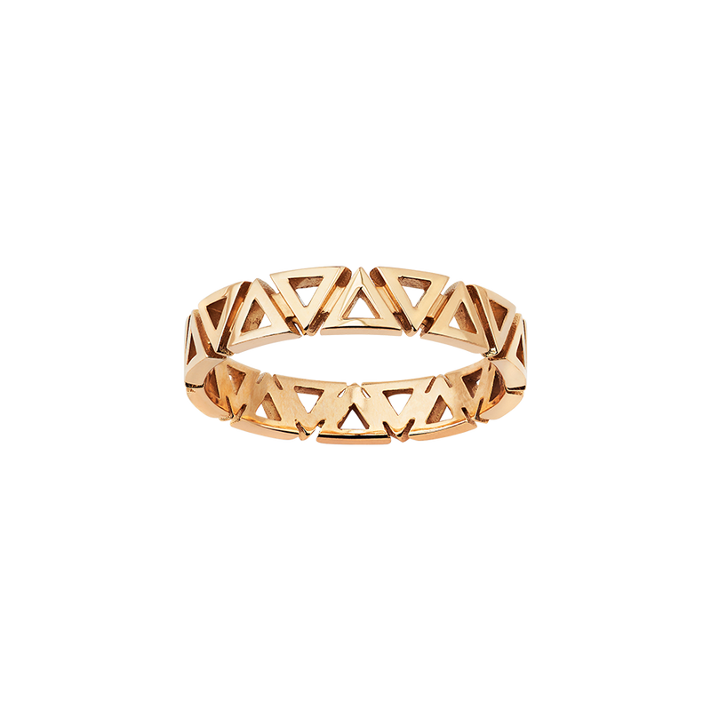 A triangle motif band ring in 18 karat yellow gold by Solange Azagury-Partridge