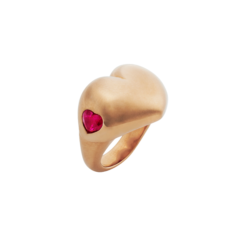 A love heart ring in 18 karat rose gold ring set with two heart shaped rubies on the side by Solange Azagury-Partridge