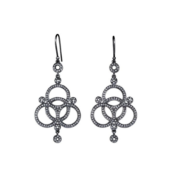 A pair of love knot motif earring set with diamonds pavé in blackened 18 karat white gold by Solange Azagury-Partridge