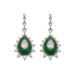 A pair of earrings composed of pear shaped diamonds with green guilloché enamel and triangle cut diamonds surrounded in blackened 18 karat white gold by Solange Azagury-Partridge